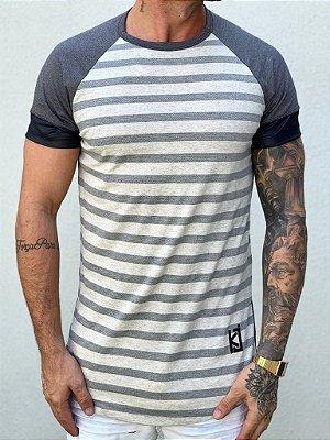 Camiseta Longline Listras Horizontais - King Joy