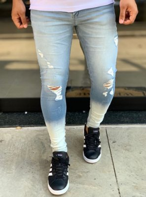 Calça Jeans Light Skinny Destroyed Barra Dêgrade - Creed Jeans