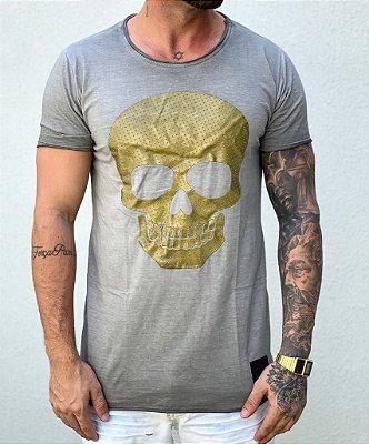 Camiseta Longline Golden Skull - John Jones