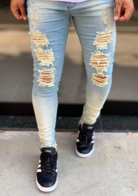 Calça Jeans Skinny Destroyed Stained - City Denim