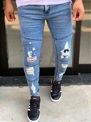 Calça Jeans Sky Skinny Destroyed Recorte Joelho - John Jones