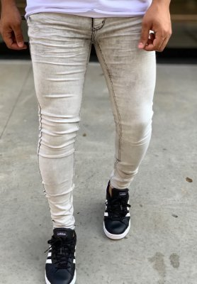 Calça Jeans Skinny  Light Gray Spotted - Zip Off