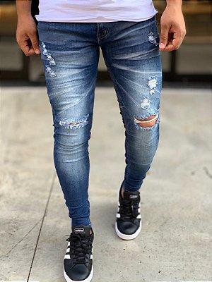 Calça Jeans Skinny Destroyed Legnica Rasgo no Joelho - Zip Off