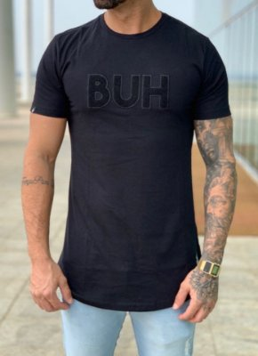 Camiseta Longline Patches Black - BUH