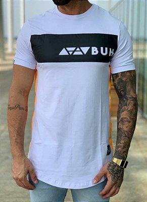 Camiseta Longline Faixa Elementos White - BUH