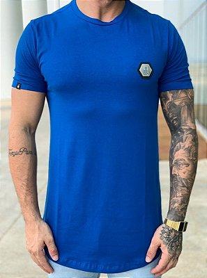 Camiseta Longline Plaquinha Azul - BUH