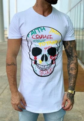 Camiseta Longline White Skull Trash - Totanka