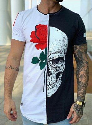 Camiseta Longline Meio a Meio Caveira - King Joy