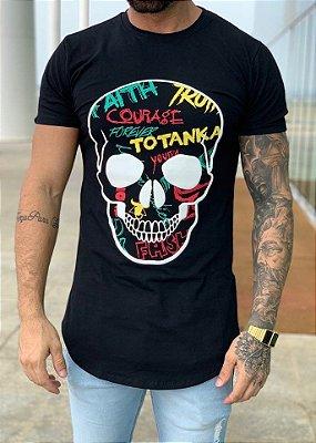 Camiseta Longline Black Skull Trash - Totanka