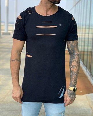 Camiseta Longline Thread Black - Totanka