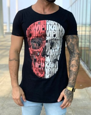 Camiseta Longline Black Caveira Full KWP - Kawipii