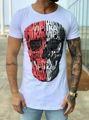 Camiseta Longline White Caveira Full KWP - Kawipii