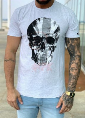 T-shirt Cinza Caveira - NF