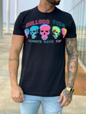 T-Shirt Black Skull colors - Bulldog Fish