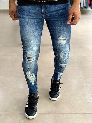 Calça Jeans Médio Skinny Destroyed Lisse - John Jones