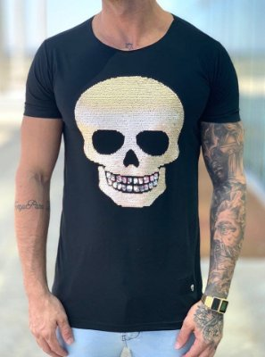 T-Shirt Long Black Skull Paetê Red - John Jones