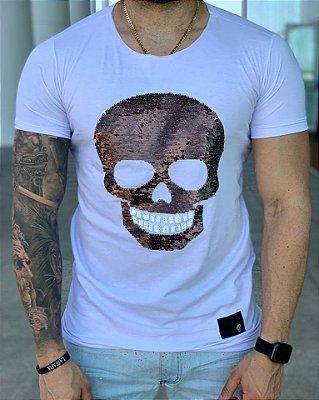 Camiseta Longline White Skull Paetê White - John Jones