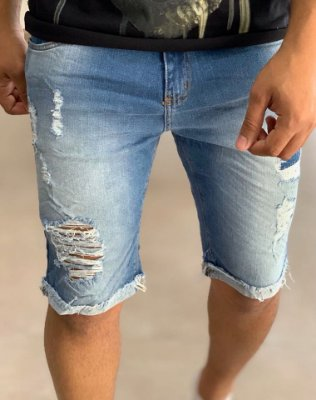 Bermuda Jeans Destroyed C/Forro - Creed Jeans