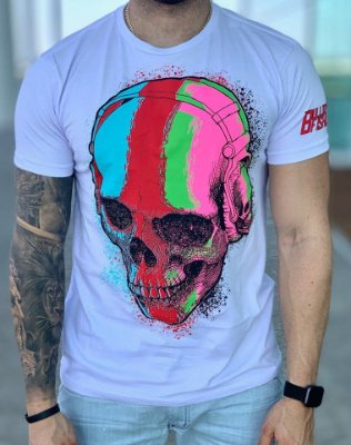 T-Shirt White Skull Multicolors - Bulldog Fish