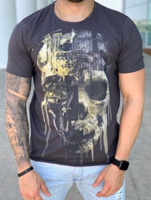 T-shirt Melting Skull Grey - Derekho
