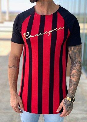 Camiseta Longline Red Black Listrada Vertical - Kawipii