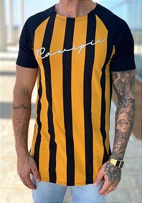 Camiseta Longline Mustard Black Listrada Vertical - Kawipii