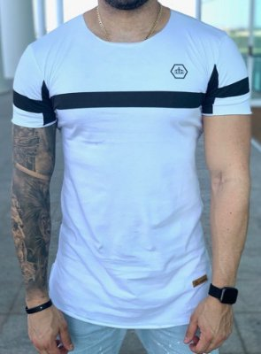 Camiseta Longline White Stripes Black - Kreta