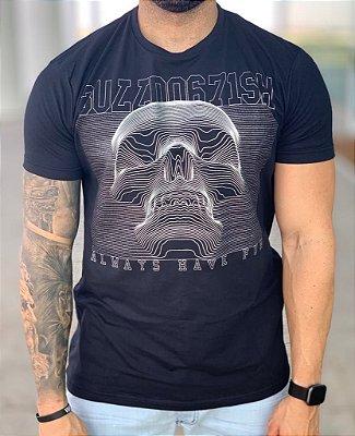 T-shirt Black Skull 3D - Bulldog Fish