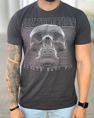 T-shirt Grey Skull 3D - Bulldog Fish