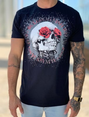 T-shirt Black Skull Roses - Bulldog Fish