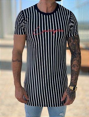 Camiseta Longline Listrada Thin P/B - Lacapa
