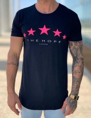 Camiseta Longline Black Neon Star Pink- The Hope