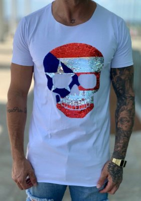 Camiseta Longline Skull Paetê Captain América - John Jones