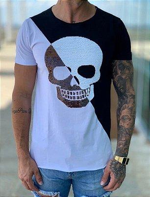T-Shirt Skull Paetê Transversal - John Jones