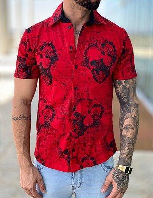 Camisa Manga Curta Skull Red - Kawipii