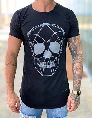 Camiseta Longline Black Skull 3D - Kreta