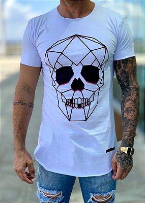 Camiseta Longline White Skull 3D - Kreta