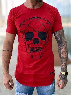 Camiseta Longline Red Skull 3D - Kreta