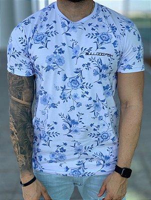 T-shirt White Flowers Blue - Bulldog Fish
