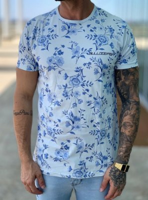 T-shirt Grey Flowers Blue - Bulldog Fish