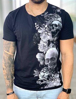 T-shirt Skull Flowers Black - Derekho