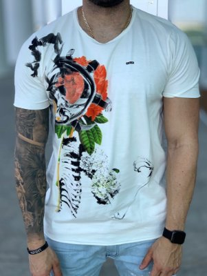 T-shirt Skeleton Flowers Creme - Derekho