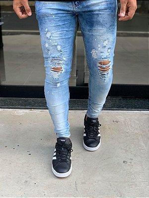 Calça Jeans Azul Skinny Destroyed C/Respingos - City Denim