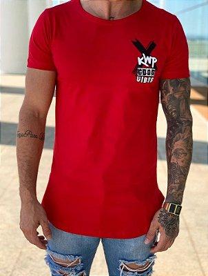 Camiseta Longline Red Good Vibes - Kawipii