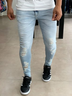 Calça Jeans Delave Skinny Destroyed San - John Jones
