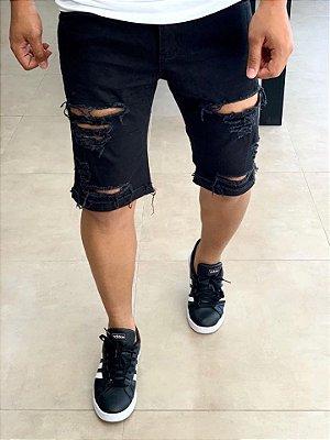 Bermuda Black Skinny Destroyed C/ Barra - Creed Jeans
