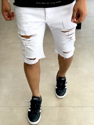 Bermuda White Skinny Destroyed C/ Barra - Creed Jeans