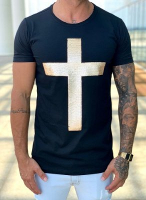 T-Shirt Long Black Paetê Cruz - John Jones