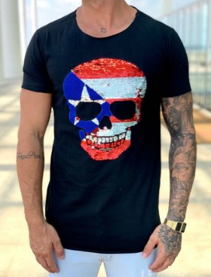 T-Shirt Long Black Skull Paetê Captain América - John Jones