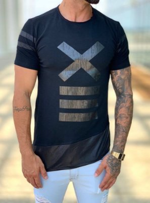 Camiseta Longline Black X Diagonal - Kawipii